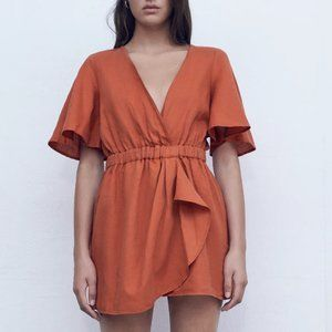 NWT Zara Sustainable Linen Blend Ruffle Romper - M